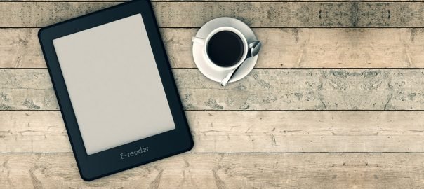 top view of an ebook reader with a cup of coffee wooden background (3d render)